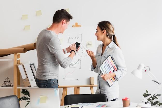 Homme d'affaires et femme regardant un schéma d'entreprise