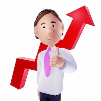 Homme d'affaires avec flèche graphique rouge. rendu 3d