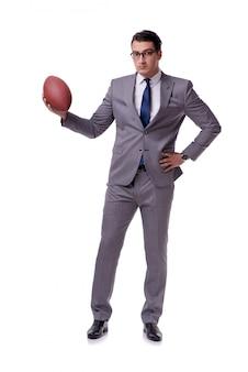 Homme d'affaires avec le football américain isolé sur blanc