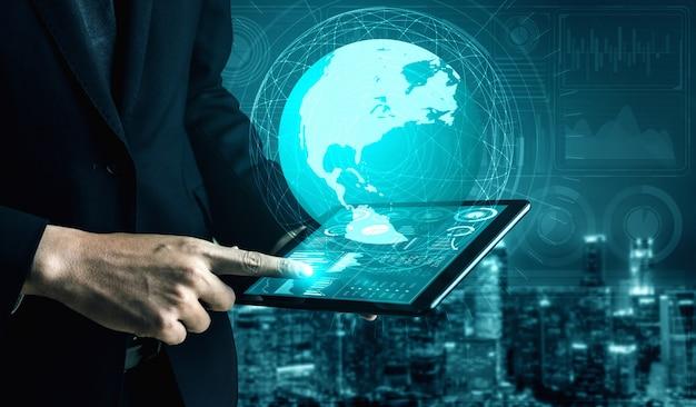 Homme d'affaires et hologrammes de big data et technologie
