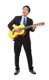 Homme affaires, jouer, guitare