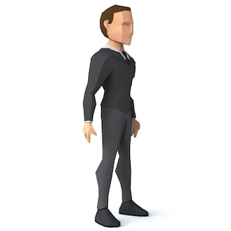 Homme d'affaires low poly 3d illustration