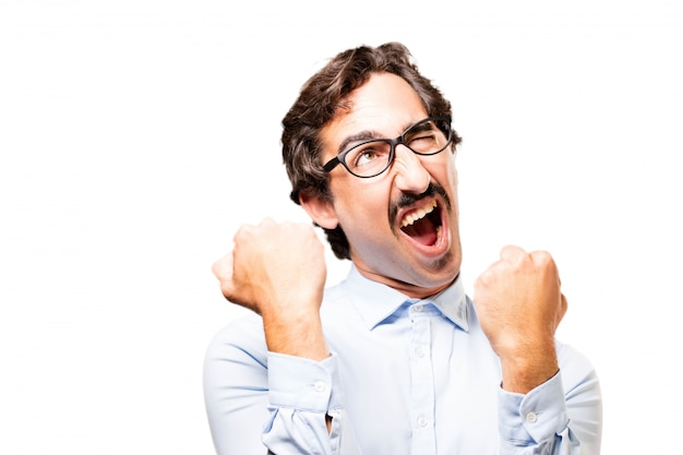 Homme d'affaires avec des lunettes euphoric