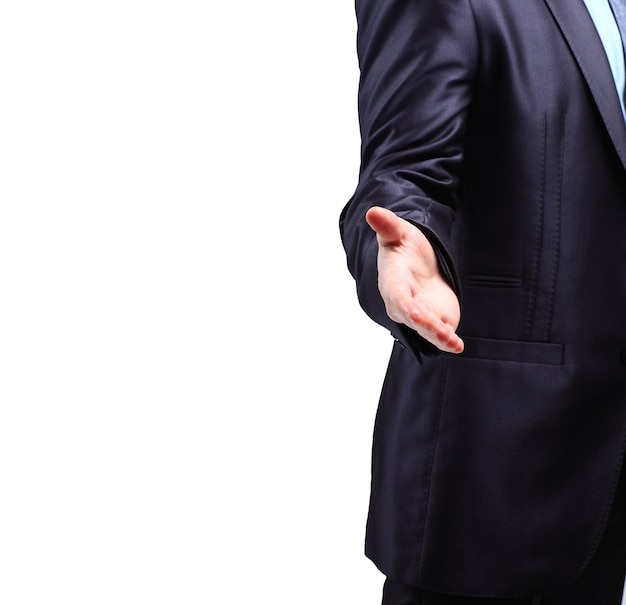 L'homme d'affaires. main pour une poignée de main. la conclusion de la transaction.