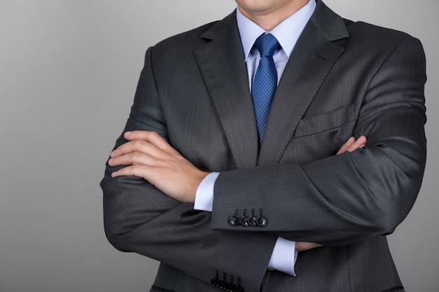Homme affaires, à, mains jointes