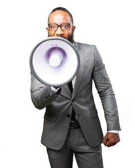 Homme d'affaires avec mégaphone
