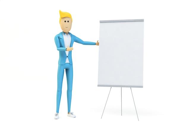 Homme d'affaires montrant un tableau blanc