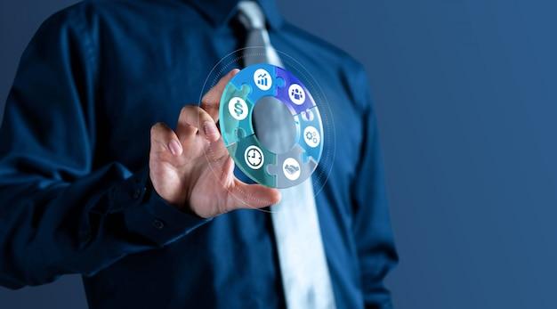 Homme affaires, montre, gestion, 3d, cercle