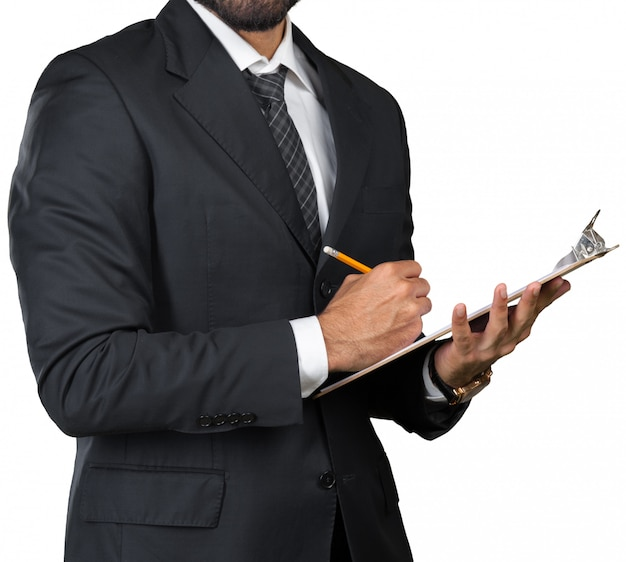 Homme d'affaires noir avec un presse-papier isolé sur fond blanc