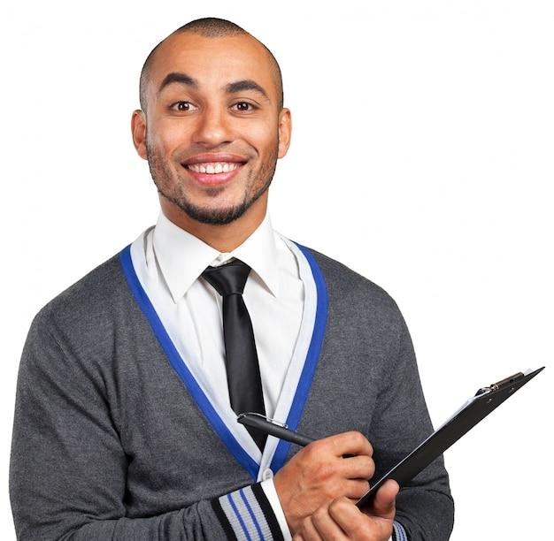 Homme d'affaires noir avec le presse-papier