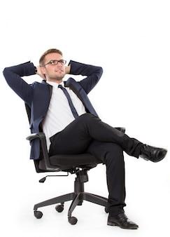 Homme affaires, pensée, chaise