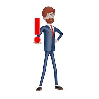 Homme d'affaires de personnage de dessin animé avec point d'exclamation rouge à la main sur un fond blanc. rendu 3d