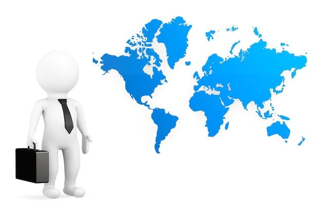 Homme d'affaires de personne 3d avec la carte du monde sur un fond blanc