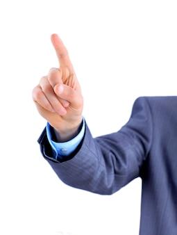 Homme d'affaires pointe son doigt.