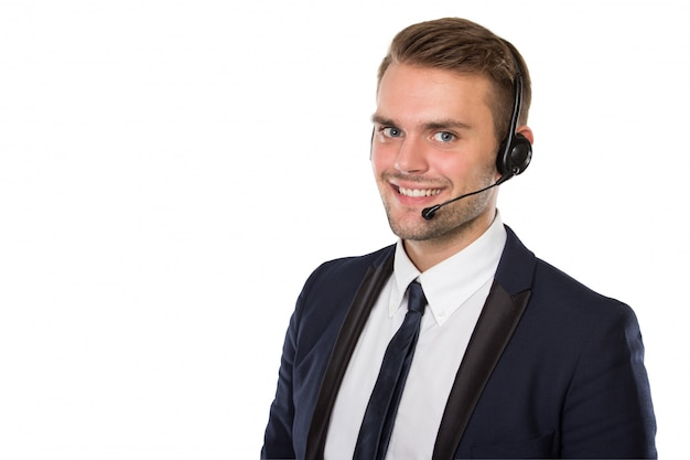 Homme affaires, porter, casque à écouteurs