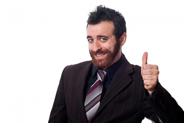 Homme d'affaires avec le pouce vers le haut sur le blanc