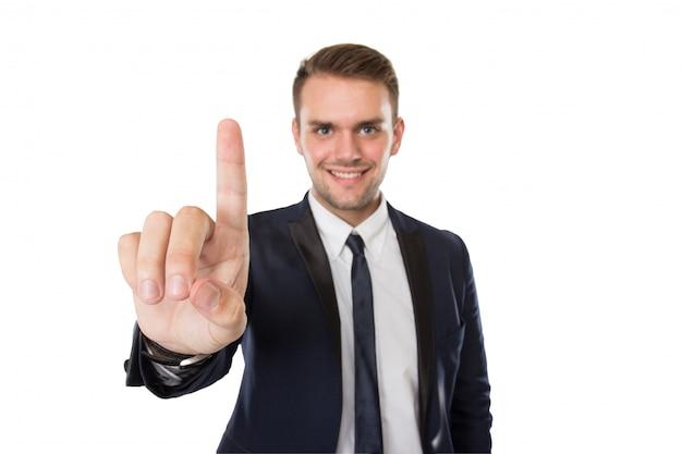Homme affaires, poussée, virtuel, écran