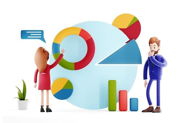 Homme d'affaires avec présentation d'infographies ou discussion sur de nouveaux indicateurs de projet et de performance