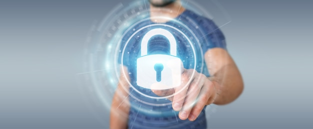 Homme d'affaires protégeant ses données avec une interface de sécurité