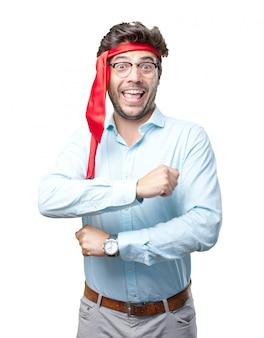 Homme d'affaires en retard avec une cravate sur la tête
