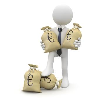 Homme affaires, sacs, euros