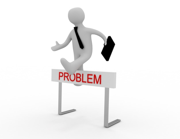 Homme d'affaires sautant par-dessus un obstacle intitulé problèmes