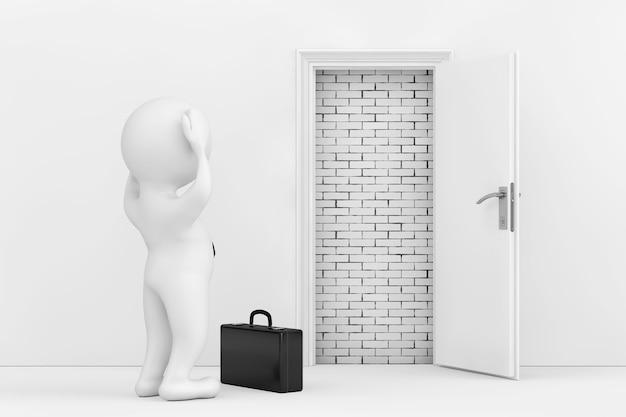 Homme d'affaires a souligné près de la porte ouverte blanche bloquée avec un mur de briques gros plan extrême rendu 3d
