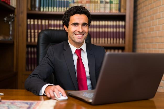 Homme d'affaires souriant à l'aide de son ordinateur portable