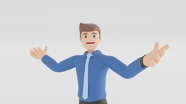 L'homme d'affaires sourit, se lève et pointe sa main en l'air à côté de lui. gens d'affaires dans le concept d'explication ou de présentation en rendu 3d.