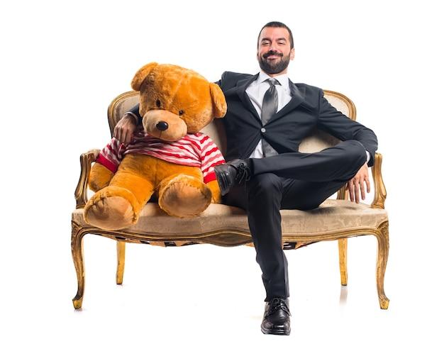 Homme affaires, teddy, séance, vendange, fauteuil