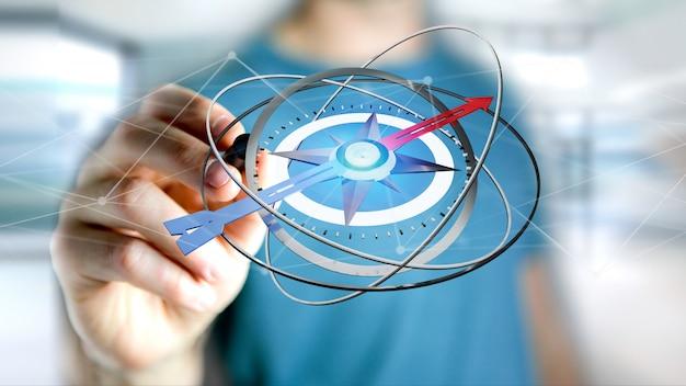 Homme d'affaires tenant un compas de navigation - rendu 3d