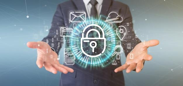 Homme d'affaires tenant une icône de roue de cadenas de sécurité avec icône multimédia et réseaux sociaux