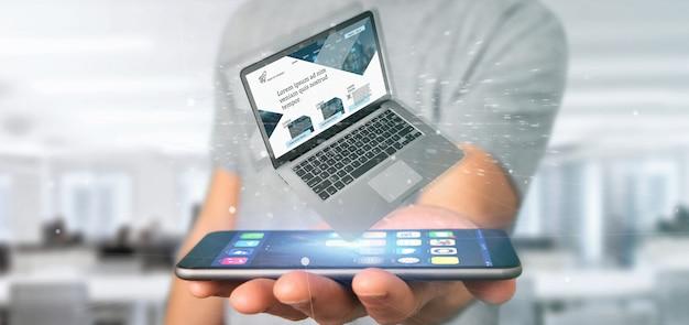 Homme d'affaires tenant un ordinateur portable avec un modèle de site web d'entreprise sur l'écran isolé