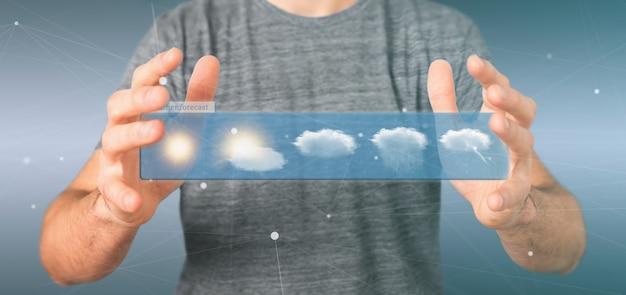 Homme d'affaires tenant un widget de prévisions météorologiques rendu 3d
