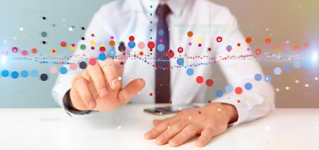 Homme affaires, tenue, a, bourse affaires, commerce, information, données