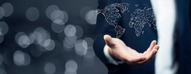 Homme affaires, tenue, carte monde, dans, mains