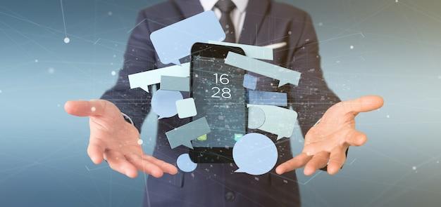 Homme affaires, tenue, a, messages, bulles, entourer, a, smartphone, 3d, rendu