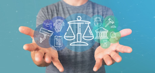 Homme affaires, tenue, nuage, de, justice, et, droit, icône, bulle, à, données, rendu 3d
