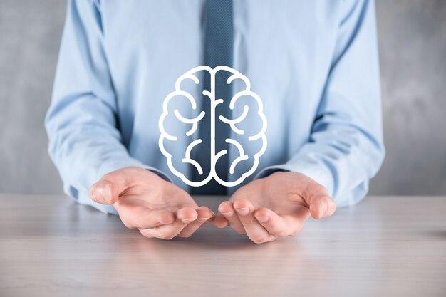 Homme affaires, tenue, résumé, cerveau