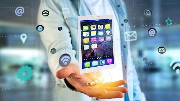 Homme affaires, tenue, tablette, entourer, par, app, et, icône sociale, -, rendu 3d