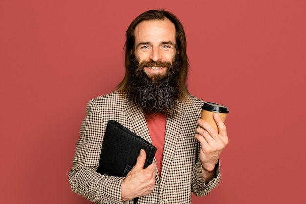 Homme affaires, tenue, tasse café