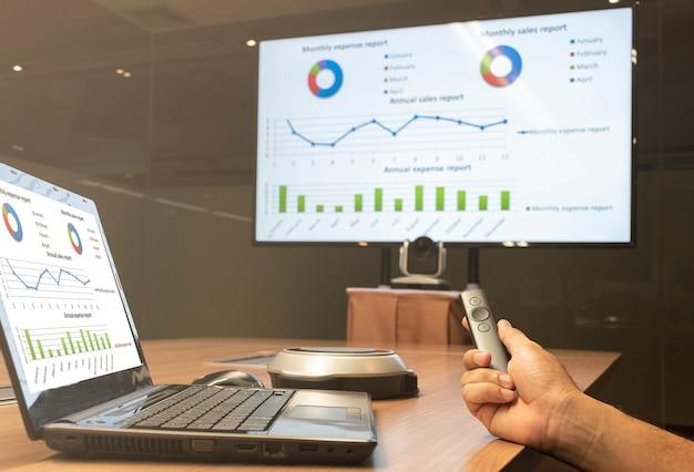 Un homme d'affaires tient une diapositive de télécommande avec une maquette de présentation graphique sur un écran de télévision