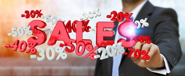 Homme d'affaires touchant des icônes de vente avec son rendu 3d au doigt