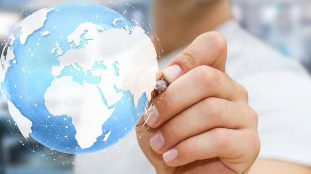 Homme d'affaires touchant le monde tactile numérique