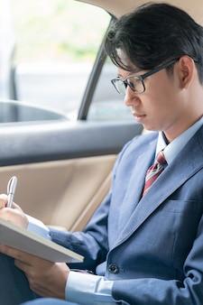 Homme d'affaires travaillant sur la banquette arrière d'une voiture