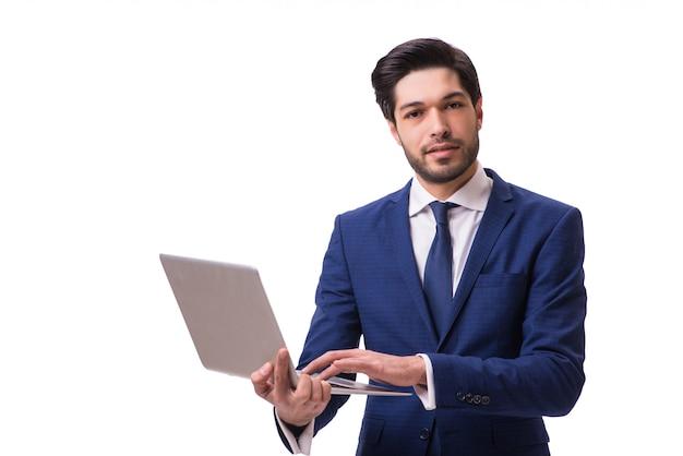 Homme d'affaires travaillant avec un ordinateur portable isolé