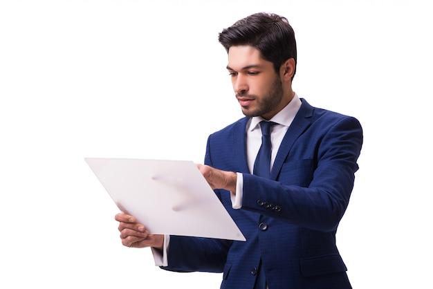 Homme d'affaires travaillant sur une tablette isolée