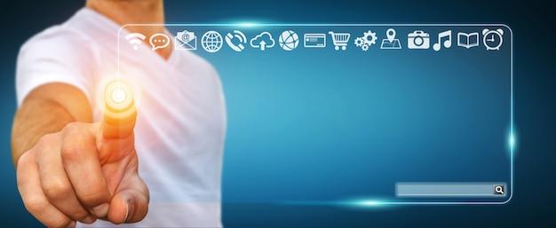 Homme d'affaires utilisant la barre d'adresse web à interface tactile pour surfer sur internet