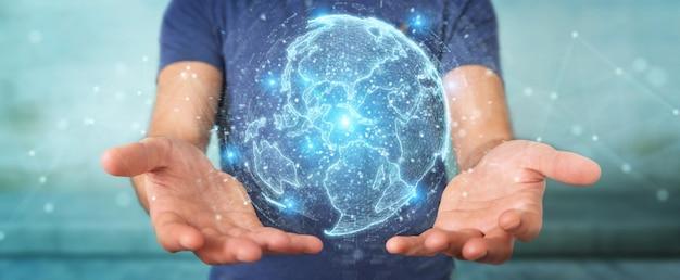 Homme d'affaires utilisant l'hologramme de réseau de globe avec le rendu 3d de la carte amérique états-unis