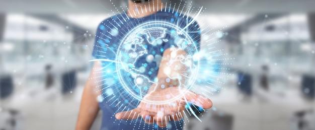 Homme d'affaires utilisant un hologramme de réseau mondial avec la carte amérique usa
